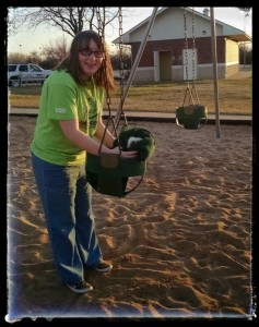 pushing pebbles in the swing